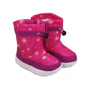 Дутики детские зимние Снежинки розовые