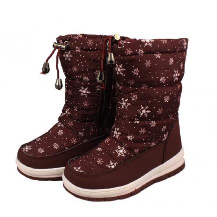 Дутики детские для девочки зимние Снежинки коричневые