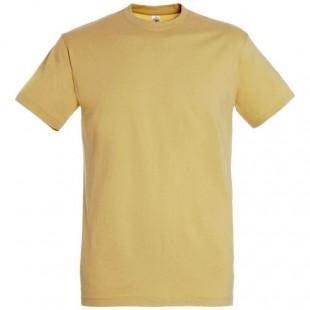 Мужская бежевая однотонная футболка без рисунка