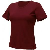 Женская бордовая однотонная футболка без рисунка