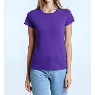 Женская фиолетовая однотонная футболка без рисунка