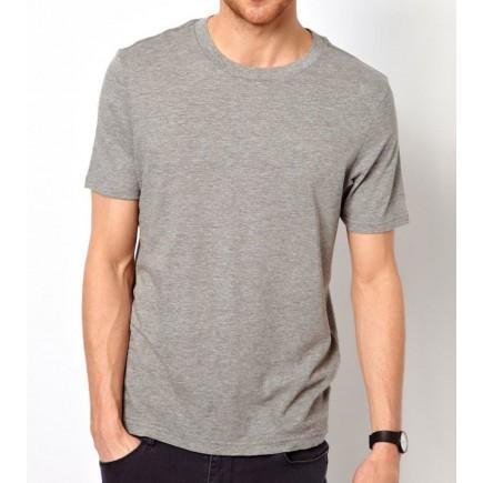 Мужская серая однотонная футболка без рисунка