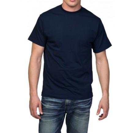 Мужская темно-синяя однотонная футболка без рисунка