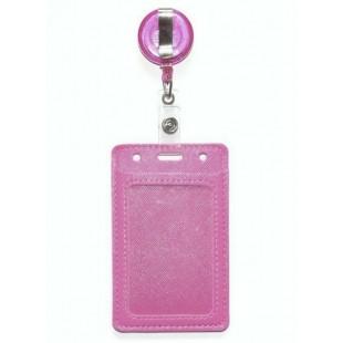 Бейдж для пропуска с рулеткой светло-розовый