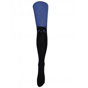 Колготки  детские Кошка синие махровые