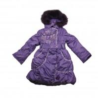 Пальто для девочки Зимние Цветы сиреневое