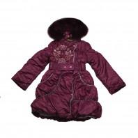 Пальто для девочки Зимние Цветы бордовое