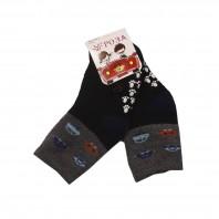 """Носки  детские """"Машинки"""" утепленные черно-серые с противоскользящим покрытием"""