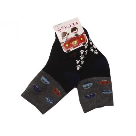 Носки  детские Машинки утепленные черно-серые с противоскользящим покрытием