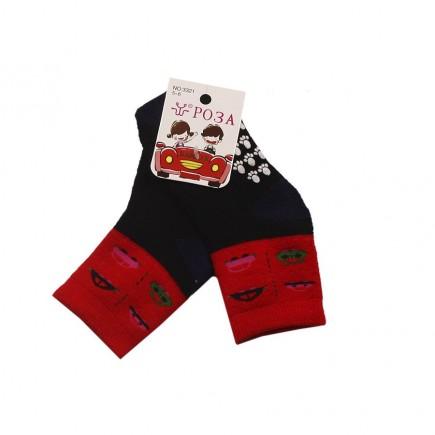 Носки  детские Машинки утепленные черно-красные с противоскользящим покрытием
