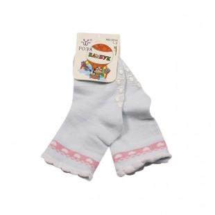 Носки детские Сердечки с противоскользящим покрытием белые