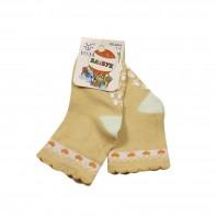 Носки детские Сердечки с противоскользящим покрытием бежевые