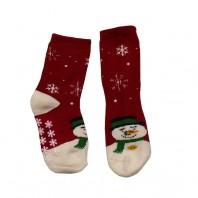 Носки  детские красные Снеговик