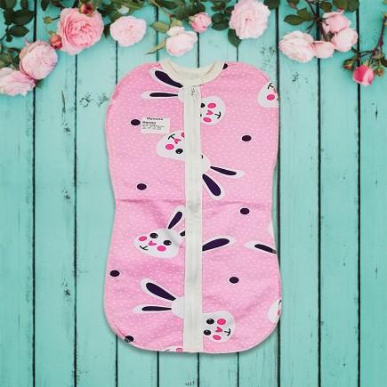 Пеленка Зайка конверт-кокон на молнии розовая