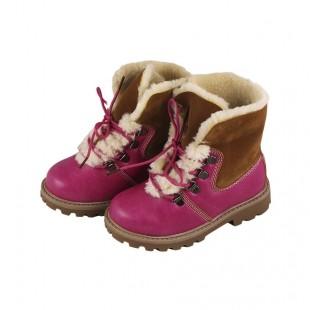 Ботинки зимние детские для девочки розово-коричневые на меху