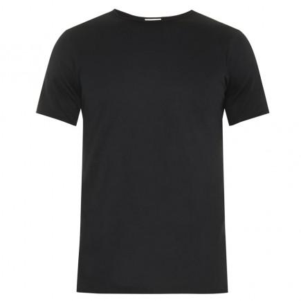 Мужская черная однотонная футболка без рисунка