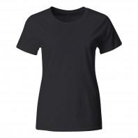 Женская черная однотонная футболка без рисунка
