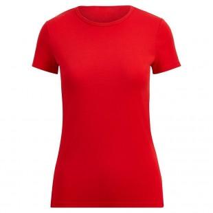 Женская красная однотонная футболка без рисунка