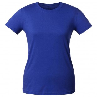 Женская синяя однотонная футболка без рисунка