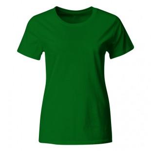 Женская зеленая однотонная футболка без рисунка