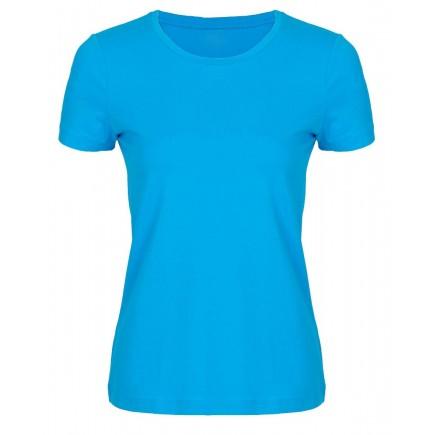Женская голубая однотонная футболка без рисунка