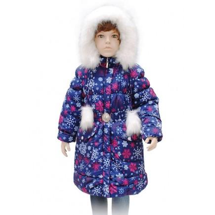 Пальто для девочки зимнее А65-11  синее