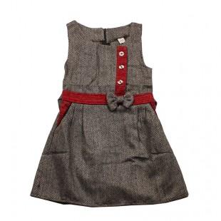 Сарафан детский Бант серо-красный