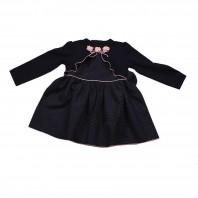 Платье детское  синее с розовыми цветами