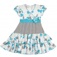 Платье для девочки Лепестки бело-голубое