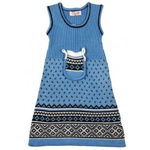 Платье детское  вязанное голубое