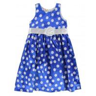 Платье детское  голубое в белый горошек PMP186