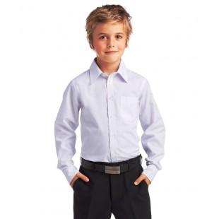 Рубашка белая классическая для мальчика с длинными рукавами