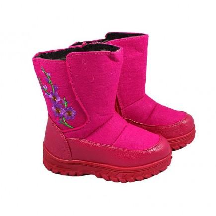 Валенки детские для девочки Зимние цветы розовые